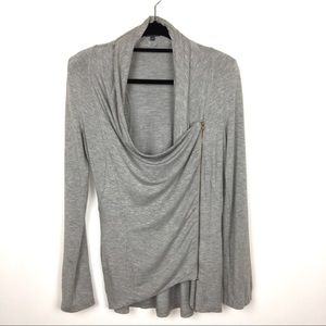 Market & Spruce Gray Crossover Zipper Jersey Top